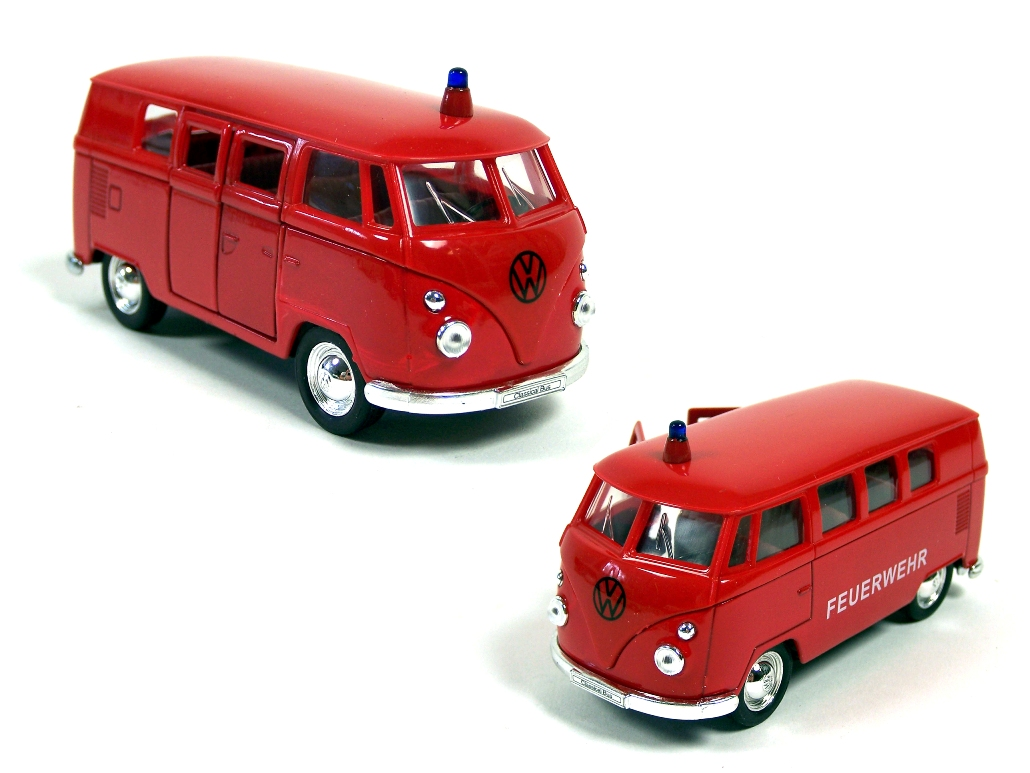 welly modellauto vw volkswagen bus feuerwehr 1962 rot 1 34. Black Bedroom Furniture Sets. Home Design Ideas